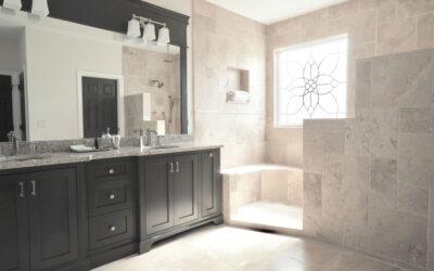Andrew Modern Travertine Master Bathroom